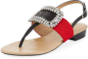 Neiman Marcus Yaika Embellished Calf Hair Sandal, Red
