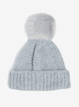 Dorothy Perkins Grey Knit Pompom Faux Fur Beanie