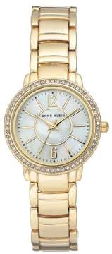 Anne Klein Goldtone Crystal-Accented Mother-of-Pearl Dial Bracelet Watch