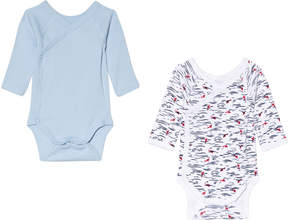 Petit Bateau Blue and White Pack of 2 Baby Bodies
