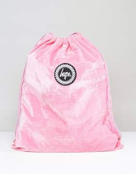 Hype Exclusive Pink Velvet Drawstring Backpack