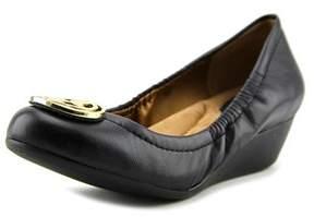 Giani Bernini Skoutt Women Open Toe Leather Black Wedge Heel.