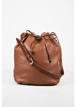 Vivienne Westwood Pre-owned Brown Pebbled Leather Gold Tone Drawstring Bucket Bag.