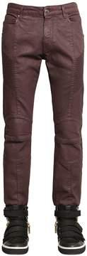 Pierre Balmain 16.5cm Biker Coated Stretch Denim Jeans