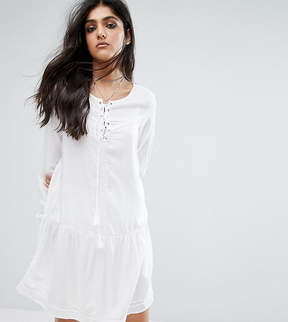 Noisy May Tall Lace Up Skater Dress With Fluted Sleeve Detail