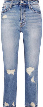 Mother The Tomcat Distressed High-rise Straight-leg Jeans - Light denim