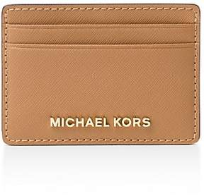 MICHAEL Michael Kors Leather Card Case - ACORN BROWN/GOLD - STYLE