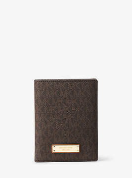 Michael Kors Jet Set Travel Logo Passport Wallet - BROWN - STYLE