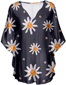 Lily Gray & White Daisy V-Neck Tunic - Women & Plus