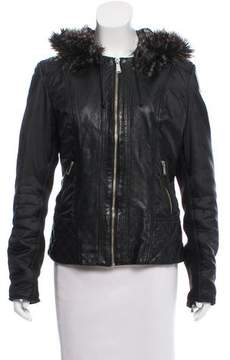 Barneys New York Barney's New York Faux Fur Trimmed Leather Jacket