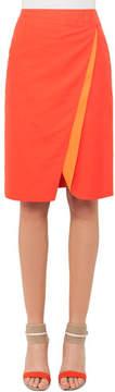 Akris Double-Face Bicolor Wrap Effect Pencil Skirt