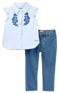 Hudson Embroidered Jersey Top & Cropped Jeans 2-Piece Set (Toddler Girls)