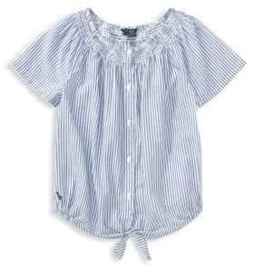 Ralph Lauren Little Girl's& Girl's Striped Smocked Cotton Top