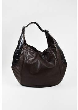 Givenchy Pre-owned Brown Leather Embossed Croc Trim eclipse Hobo Bag.