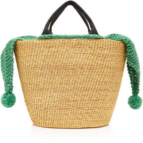 Muun Minho Canvas-Trimmed Crochet-Knit And Straw Tote