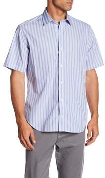 Tailorbyrd Short Sleeve Stripe Classic Fit Woven Shirt