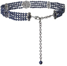 St. John Hammered Metal Pearl Chain Belt