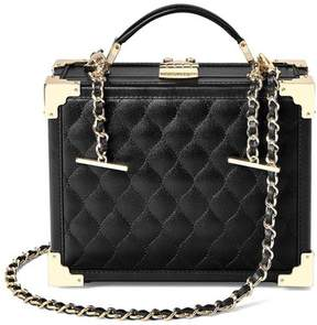 Aspinal of London Mini Trunk Clutch In Black Quilted Kaviar