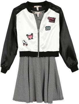 Speechless Girls 7-16 & Plus Size Patch Applique Bomber Jacket & Striped Skater Dress Set