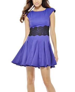 AX Paris Purple & Black Lace Waist Fit & Flare Dress - Women