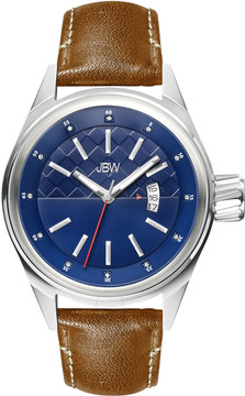 JBW Rook Blue Dial Brown Leather Strap Men's Watch
