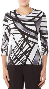 Allison Daley Petites 3/4 Sleeve Print Knit Top