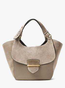 Michael Kors Josie Large Leather And Suede Tote - BROWN - STYLE