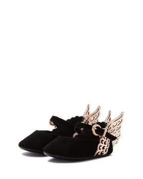 Sophia Webster Evangeline Suede Butterfly-Wing Flat, Black, Infant