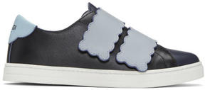 Fendi Navy Biscuit Double Strap Sneakers