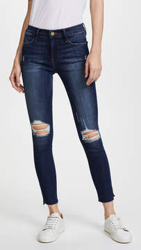 Frame Le High Skinny Jean with Raw Edge Slit Rivet