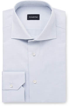 Ermenegildo Zegna Grey Slim-Fit Cutaway-Collar Cotton Shirt