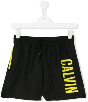 Calvin Klein Kids TEEN logo print swim shorts