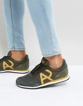 Armani Jeans Logo Runner Sneakers in Khaki
