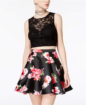 B. Darlin 2-Pc. Lace Floral-Print Dress