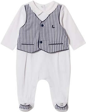 Mayoral White and Navy Stripe Waistcoat Effect Babygrow