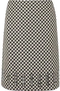 Bottega Veneta Eyelet-embellished Gingham Cotton And Wool-blend Skirt - Black