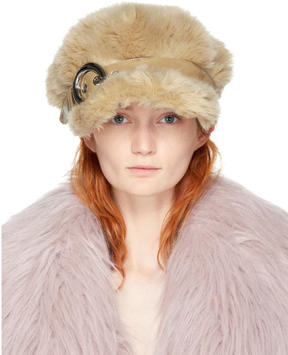 Miu Miu Beige Eco Shearling Officer Hat