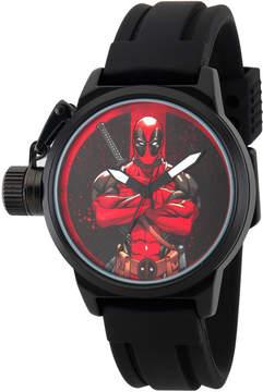 Marvel Mens Deadpool Black Dial Black Rubber Strap Watch
