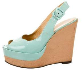 Hermes Patent Leather Slingback Wedges