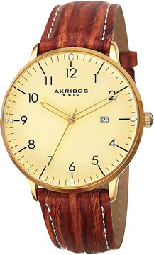 Akribos XXIV Unisex Brown Strap Watch-A-715yg