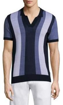 Orlebar Brown Horton Stripe Cotton V-Neck Polo Shirt