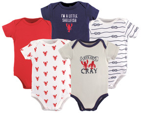 Hudson Baby Blue & Red Crayfish Bodysuit Set - Newborn & Infant