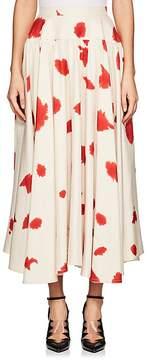 Calvin Klein Women's Paint-Splattered Silk Slub-Weave Midi-Skirt