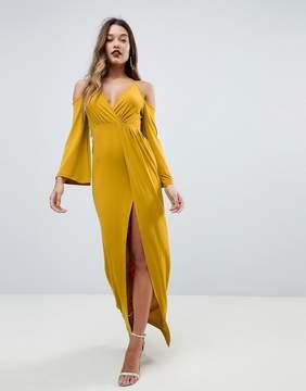 Asos Slinky Deep Plunge Cold Shoulder Kimono Maxi Dress