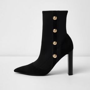River Island Womens Black military heeled ankle boots