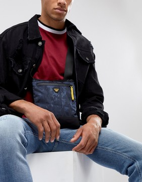 Armani Jeans Nylon Mesh Logo Flight Bag in Navy