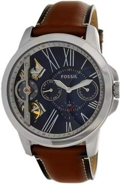 Fossil Men's Grant ME1161 Silver Leather Automatic Dress Watch