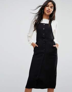 Goldie Plateau Over The Knee Pinafore Dress With Button Up Front
