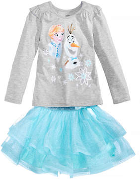 Disney 2-Pc. Frozen Elsa & Olaf T-Shirt & Glitter-Skirt Set, Little Girls (4-6X)