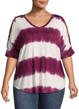 Boutique + + Short Split Sleeve Tie Dye T-Shirt - Plus